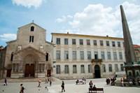 Tourists outside the Church of St. Trophime, Place de La Republique, Arles, Bouches-Du-Rhone, Provence-Alpes-Cote d'Azur, France by Panoramic Images - various sizes, FulcrumGallery.com brand