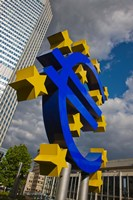 Sculpture of an Euro sign in front of a building, Willy-Brandt-Platz, European Central Bank, Frankfurt, Hesse, Germany Fine Art Print