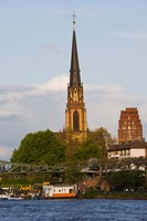 River with church in the background, Three Kings Church, Main River, Frankfurt, Hesse, Germany by Panoramic Images - various sizes, FulcrumGallery.com brand
