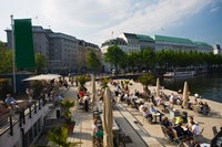 Tourists at a sidewalk cafe, Binnenalster Lake, Hamburg, Germany by Panoramic Images - various sizes