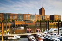 Boats docked at a harbor, HafenCity, Hamburg, Germany by Panoramic Images - various sizes