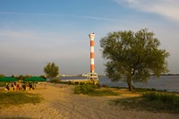 Small lighthouse at the riverside, Elbe River, Blankenese, Hamburg, Germany by Panoramic Images - various sizes