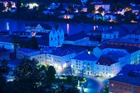 High angle view of old town buildings at night, Passau, Bavaria, Germany by Panoramic Images - various sizes, FulcrumGallery.com brand