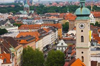 High angle view of buildings with a church in a city, Heiliggeistkirche, Munich, Bavaria, Germany by Panoramic Images - various sizes, FulcrumGallery.com brand