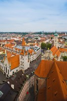 High angle view of buildings and a church in a city, Heiliggeistkirche, Old Town Hall, Munich, Bavaria, Germany by Panoramic Images - various sizes, FulcrumGallery.com brand