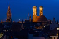 Town hall with a church at night, Munich Cathedral, New Town Hall, Munich, Bavaria, Germany Fine Art Print