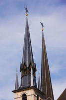 Low angle view of spires of the Notre Dame Cathedral, Luxembourg City, Luxembourg Fine Art Print