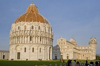 Tourists at baptistery with cathedral, Pisa Cathedral, Pisa Baptistry, Piazza Dei Miracoli, Pisa, Tuscany, Italy by Panoramic Images - various sizes - $54.99