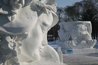 Snow sculptures at Harbin International Sun Island Snow Sculpture Art Fair, Harbin, Heilungkiang Province, China Fine Art Print
