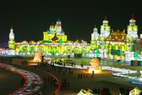 Tourists at the Harbin International Ice and Snow Sculpture Festival, Harbin, Heilungkiang Province, China by Panoramic Images - various sizes - $54.99