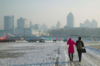Couple walking on a frozen river, Songhua River, Harbin, Heilungkiang Province, China by Panoramic Images - various sizes