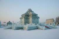 Ice building at the Harbin International Ice and Snow Sculpture Festival, Harbin, Heilungkiang Province, China Fine Art Print