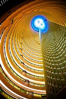 Interiors of Jin Mao Tower looking up from the lobby of the Grand Hyatt hotel, Lujiazui, Pudong, Shanghai, China Fine Art Print
