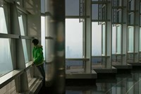 Person viewing a city from observation point in a tower, Jin Mao Tower, Lujiazui, Pudong, Shanghai, China Fine Art Print