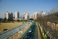 Taxis parked outside a maglev train station, Pudong, Shanghai, China Fine Art Print