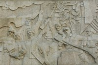 Revolutionary frieze in Huangpu Park by Huangpu River, The Bund, Shanghai, China Fine Art Print