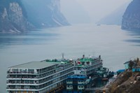 Yangtze River Cruise Ships at anchor, Yangtze River, Yichang, Hubei Province, China Fine Art Print