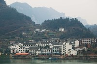 Town by Three Gorges Dam, Yangtze River, Hubei Province, China Fine Art Print