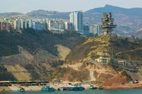 Boats at the port with a newly built town on Yangtze River, Wanzhou, Chongqing Province, China by Panoramic Images - various sizes