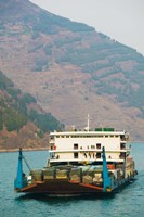 Container ship in the river with mountains in the background, Yangtze River, Fengdu, Chongqing Province, China by Panoramic Images - various sizes