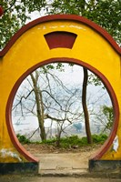 Archway with trees in the background, Mingshan, Fengdu Ghost City, Fengdu, Yangtze River, Chongqing Province, China Fine Art Print