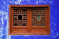 Blue Temple Wall at Mingshan, Fengdu Ghost City, Fengdu, Yangtze River, Chongqing Province, China Fine Art Print