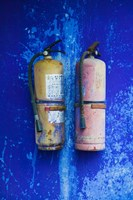 Fire extinguishers on Blue Temple wall, Mingshan, Fengdu Ghost City, Fengdu, Yangtze River, Chongqing Province, China Fine Art Print