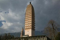Low angle view of Qianxun Pagoda, Three Pagodas, Old Town, Dali, Yunnan Province, China by Panoramic Images - various sizes
