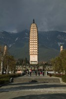 Tourists at the Three Pagodas, Old Town, Dali, Yunnan Province, China Fine Art Print