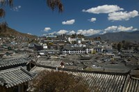 High angle view of houses in a town, Old Town, Lijiang, Yunnan Province, China by Panoramic Images - various sizes, FulcrumGallery.com brand