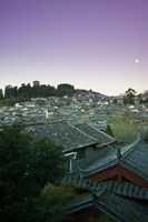 High angle view of houses in the old town at dawn, Lijiang, Yunnan Province, China Fine Art Print