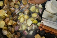 Fried potatoes and snacks on the grill in a street market, Old Town, Lijiang, Yunnan Province, China Fine Art Print