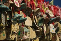Buddhist prayer wishes (Ema) hanging at a shrine on a tree, Old Town, Lijiang, Yunnan Province, China Fine Art Print