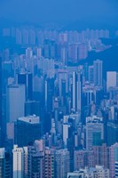 High angle view of buildings in a downtown district, Central District, Hong Kong Island, Hong Kong Fine Art Print