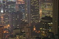 High angle view of buildings lit up at dusk, Central District, Hong Kong by Panoramic Images - various sizes