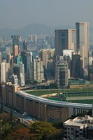 High angle view of a horseracing track, Happy Valley Racecourse, Happy Valley, Wan Chai District, Hong Kong Fine Art Print