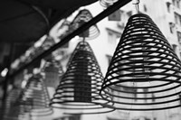 Large incense coils hanging in Pak Sing Ancestral Hall, Central District, Hong Kong Island, Hong Kong by Panoramic Images - various sizes