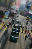 Trams on a road, Hennessy Road, Wan Chai, Wan Chai District, Hong Kong Fine Art Print
