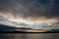 Lake at sunset with mountains in the background, Mt Lassen, Lake Almanor, California, USA by Panoramic Images - various sizes