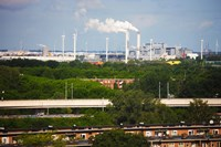Smoke Stacks and Windmills at Power Station, Netherlands by Panoramic Images - various sizes