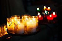 Votive candles in a cathedral, Reims Cathedral, Reims, Marne, Champagne-Ardenne, France by Panoramic Images - various sizes, FulcrumGallery.com brand