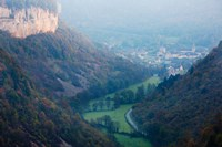Elevated view of a village at morning, Baume-les-Messieurs, Les Reculees, Jura, Franche-Comte, France by Panoramic Images - various sizes, FulcrumGallery.com brand
