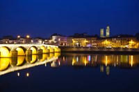 Bridge lit up at night, Pont St-Laurent Bridge, Macon, Burgundy, Saone-et-Loire, France by Panoramic Images - various sizes