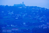 Town with Chateau de Polignac in the background at dawn, Polignac, Le Puy-en-Velay, Haute-Loire, Auvergne, France by Panoramic Images - various sizes, FulcrumGallery.com brand