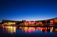 Restaurants by the Esplanade de l'Europe at dusk, Montpellier, Herault, Languedoc-Roussillon, France by Panoramic Images - various sizes, FulcrumGallery.com brand