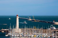 Port with the Mole St-Louis pier lighthouse, Sete, Herault, Languedoc-Roussillon, France by Panoramic Images - various sizes