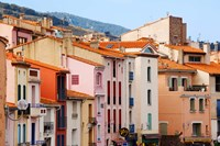 Low angle view of buildings in a town, Collioure, Vermillion Coast, Pyrennes-Orientales, Languedoc-Roussillon, France Fine Art Print