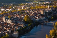 Elevated view of a town viewed from Mont St-Cyr, Cahors, Lot, Midi-Pyrenees, France by Panoramic Images - various sizes, FulcrumGallery.com brand