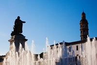 Fountain with a statue at Place Francois Mitterrand, Cahors, Lot, Midi-Pyrenees, France by Panoramic Images - various sizes
