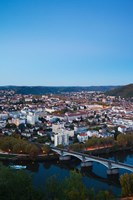 Elevated view of a Town at Dusk, Cahors, Lot, Midi-Pyrenees, France by Panoramic Images - various sizes, FulcrumGallery.com brand